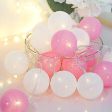 20Led Vintage Pastel Cotton Ball Patio Party String Lights – Fairy Wedding Decor