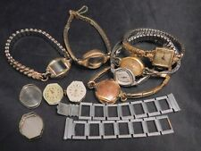 10k Gold Filled Plated Vintage Elgin Welsbro Genova Wrist Watch Lot Repair Parts