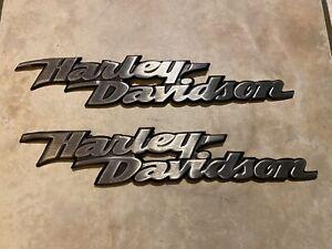 Genuine Harley Heritage Fuel Gas Tank Set Emblems Badges Brushed Aluminum OEM