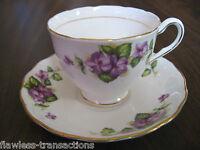 Vintage COLCLOUGH Bone China Tea Cup Saucer Set Floral Violet Pattern Gold Gilde