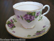 Vintage COLCLOUGH Bone China Tea Cup Saucer Set Floral Violet Pattern Gold Gilde