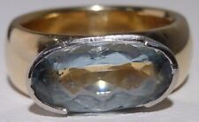 Aquamarine Ring 14k Y Gold Large Blue Large Blue Aqua AA 2.00 CT Estate Vintage