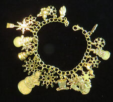 Snowman & Snowflakes Charm Bracelet 24 Karat Gold Plate Top Hat Carrot Broom 8""