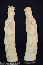 "Large Vintage Asian Chinese Empress Resin Composite Statue Figurines 15"" tall"