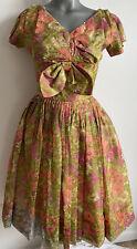 New listing Vtg 50s Gigi Young Floral Print Chiffon Satin Dress Full Skirt Netted Petticoat