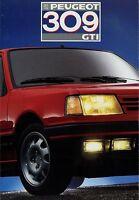 Peugeot 309 GTI Prospekt 1987 Autoprospekt Broschüre brochure brosjyre broschyr