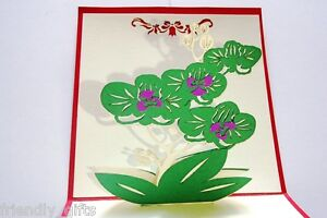 12cm x 12cm 3D Pop Up Green Flower Red Cover Thank You Greeting Cards