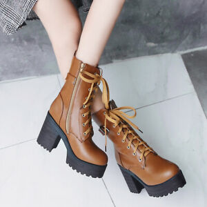 Women Comfort Chunky Heel Lace Up Ankle Booties Gothic Punk Combat Boots