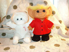 """Dreamsicles Angel Hugs & 8"""" Troll in red jacket Black pants excellent condition"""