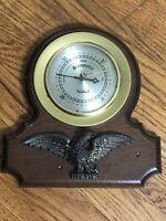Vintage Brass Wood & Eagle Wall Hanging Verichron Barometer Works AA132