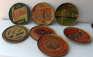 Wall Clock Metal Vintage CMS 28 Coca Cola Lucky Stike Holder VW Shell