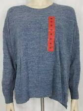 NWT Adrienne Vittadini blue heathered Storm Platinum scoop neck sweater Medium