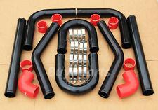 2.5' 8 PCS BLACK Coated ALUMINUM Intercooler PIPING + RED COUPLER + U Pipe Kit