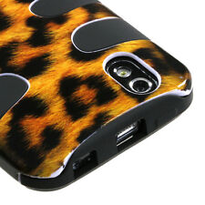 For LG Marquee Hybrid FISHBONE Rubber Silicone Hard Case Phone Cover Leopard