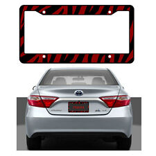New Red Zebra Print Car Truck Universal Fit License Plate Frame Made in USA