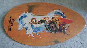 "Skim Lizard Wood Wooden Skimboard Natural and Blue 30""x19"""