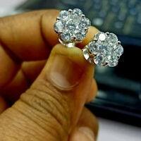 1.50Ct Round Cut VVS1 Diamond Cluster Flower Stud Earrings 14K White Gold Finish