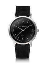 Original Bergmann Cor Uhr schwarz schwarzes Wildlederband klassisch Unisex