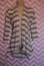 Yvos Gray White Striped Open Cardigan Shrug Size L USA Lace Asymmetrical Hem