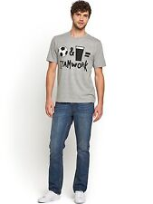 Mens Teamwork T-Shirt In Grey Size S Free UK P&P