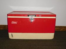 "Vintage Beer Soda Picnic 22"" X 13"" X 12"" High Large Red Metal Coleman Cooler"
