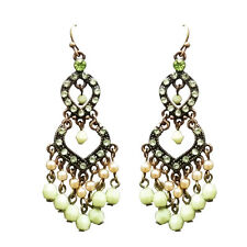 Earrings Green Crystal Pearl Dangle Glass Gold Drop Imitation White Pearls Color