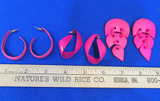 Vintage Jewelry Earrings Pink Hoop Loop Dangle Fuchsia Pierced  Lot of 3