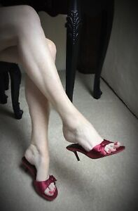 Sexy Red Satin Kitten Heel Mules - by Clarks - Size 4