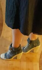 """WANTED"" blue denim platform block heels lace up casual shoes/ankle booties, 9"