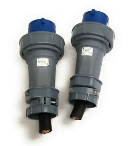 (2) Mennekes ME 460P9W Watertight 3P Plug w/ Sleeve 60A 4W 250Vac Type 60918MZ