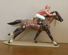 Hagen Renaker Horse #3297 RACEHORSE with JOCKEY  Salmon Variation Porcelain