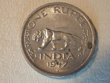 India 1947 One Rupee Coin - with cat - spotted