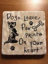 Unusual Handmade Stone Tile Coaster/Dogs Leave Paw Prints/Heart/Gifts/Xmas