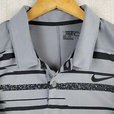 NIKE GOLF Size 2XL Tiger Zebra Stripe Mens Performance Polo Shirt Dri-Fit Gray