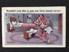 Vintage PC: Comic Artist Signed: Donald McGill #A401: Little Family Circle 1942