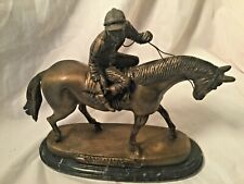 Delaware Park Bronze Statue Horse with Jockey on Marble Base