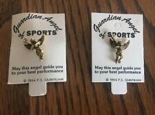 Gold Toned Golf Pins. 2 Guardian Angel of Sports