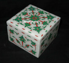 White Marble Jewelry Square Box Malachite Floral Marquetry Inlay Art Decor Gifts