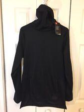 Under Armour UA Men ColdGear Fitted Pursuit Fleece Black Funnel Neck Shirt $80 S