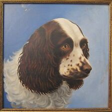 Antique American Winsor & Newton Oil On Board Cocker Spaniel Dog Fine Painting