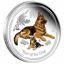 Lunar II Hund Dog PROOF colour 2018 polierte Platte 1oz  farbig PP Silbermünze