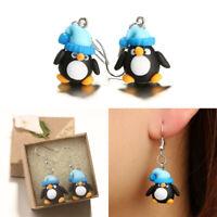 Jewelry Handmade Christmas Earrings Polymer Clay Penguin Pattern Ear Stud