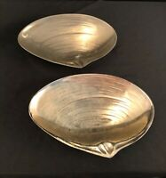 2 Tarnish Resistant Silver Plate Clam Shell Serving Dishes Made In Japan