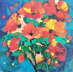 MARINA REHRMANN Original Impressionism Abstract Flower Red Blue Green Art 🧿🧿