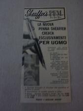 ADVERSITING PUBBLICITA' SHEAFFER'S PFM creata esclusivamente per uomo   - - 1960