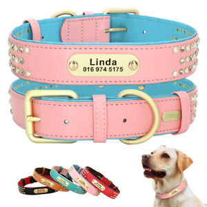 Rhinestone Soft 2 Layers Leather Personalized Dog Collar With Custom Nameplate