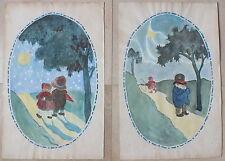 2 aquarelles enfantines signées datées S.Coutat 1923