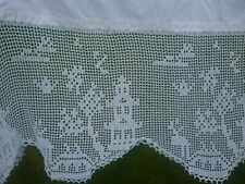 More details for antique linen  and hand crochet tablecloth willow pattern