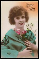 aRT dECO 1920s old Vintage photo postcard lady big coat smile girl flower