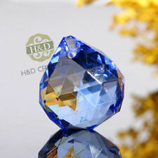 1pcs Blue Crystal Glass Balls Lamp Parts Prism Hanging Drop DIY Pendant 30mm ~